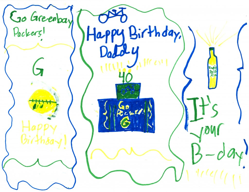 Julia's birthday card to me
